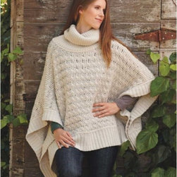 """Viva Terra - Luscious Knit Poncho (L/XL 8-14) - This super-soft warm lambswool knit is topped with a loose, comfortable cowl neck. What every knit poncho aspires to be and seldom is: protective perfection. Dry clean. Imported. 25""""-26""""L"""