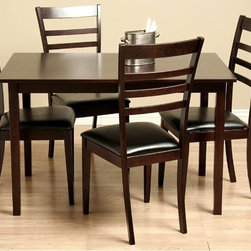 Warehouse of Tiffany - Crystal Dining Furniture Set in Oak Finish - Set includes one table and four chairs. Perfect addition to today's modern interior styles. Chairs covered in polyurethane coated bi-cast leather . Chairs and table made of Oak featuring a light cappuccino stain. Chair:  21.4 in. W x 17.7 in. D x 38.1 in. H . Table: 47.2 in. L x 29.5 in. W x 29.1 in. H (47 lbs.)Accent your dining room decor with this Crystal dining set . Dining furniture features Oak wood construction in light cappuccino hue. Dining set offers attractive bi-cast leather upholstery in Black.