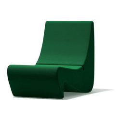 Vitra - Panton Amoebe Chair, Green Tonus Wool - The Amoebe was originally dreamed up for Panton's Visiona installation. It is a marvelous example of close-to-the-floor lounge furniture and embodies the spirit of the early 70's. In bright colors, the re-edition delivers even greater comfort thanks to its flexible backrest shell.
