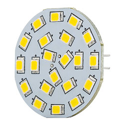 LED G4 Lamp, 21 High Power LED Disc Type with Back Pins - Disc type G4 based Lamp with 21 high power LEDs. 12 Volt AC or 10~30 Volt DC operation producing up to 310 lumens at 6000K or 3000K with 120 degree beam angle. 1.4 inch diameter, connection pins exit back of lamp. Price for each.