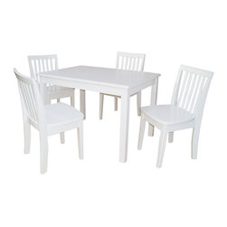 International Concepts - International Concepts 5 Piece Mission Table Set in Linen White - International Concepts - Kids' Table and Chair Sets - K0825322634 - This mission style table and chair set from International Concepts will make the perfect activity center for your young ones. It is composed of durable solid wood, and includes one table and four chairs.
