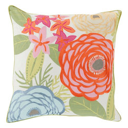 "Surya - Surya BTC-001 Pillow, 20"" x 20"", Down Feather Filler - Embodying the dazzling color palette and divine beauty of flowers in spring this perfect pillow will fashion a flawless addition to your space. Hand made in India in 100% cotton, the striking floral images placed pristinely across this exquisite piece radiates an incomparably delicate decadence from room to room within any home decor."