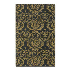 Uttermost - Uttermost Marseille 8 x 10 Damask Rug 73006-8 - Dark Charcoal Wool Accented With Burnt Gold Damask Pattern In A Medium Cut Pile.