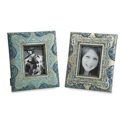 iMax - Haani Hand Painted Frames, Set of 2 - This set of hand painted frames feature beautiful jewel toned patterns and are a globally inspired eclectic terracotta accent to any cherished photo.