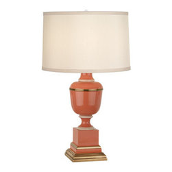 Robert Abbey - Robert Abbey Mary McDonald Annika Accent Lamp 2603X - Tangerine Lacquered Paint and Natural Brass