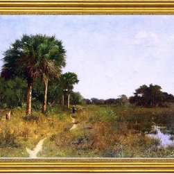 "William Lamb Picknell-16""x24"" Framed Canvas - 16"" x 24"" William Lamb Picknell Midwinter in Florida framed premium canvas print reproduced to meet museum quality standards. Our museum quality canvas prints are produced using high-precision print technology for a more accurate reproduction printed on high quality canvas with fade-resistant, archival inks. Our progressive business model allows us to offer works of art to you at the best wholesale pricing, significantly less than art gallery prices, affordable to all. This artwork is hand stretched onto wooden stretcher bars, then mounted into our 3"" wide gold finish frame with black panel by one of our expert framers. Our framed canvas print comes with hardware, ready to hang on your wall.  We present a comprehensive collection of exceptional canvas art reproductions by William Lamb Picknell."