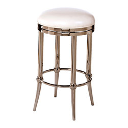 Hillsdale Furniture - Hillsdale Cadman Backless Stool - Fully Assembled in Shiny Nickel - 30 Inch - Sleek and sophisticated the Cadman Stool packs a lot of style punch into a backless design. Featuring a shiny nickel base and a 360 degree swivel seat offset in chic ivory vinyl the Cadman is a contemporary creation without being over the top. The Cadman is available in bar and counter heights. Some assembly required.