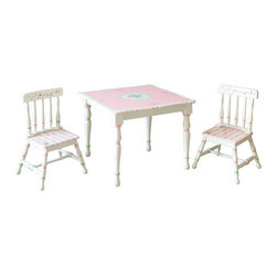 Teamson Kids - Bouquet Kids' 3 Piece Table and Chair Set - Did you ever look into your daughters room and think there is just something missing? Why not add the table and chair to her room. It's a great addition to any little girl's room. Not only is it a decorative piece but your child will be able to do homework and have tea time with her friends. Features: -Hand painted and hand carved.-Sturdy and high quality.-Decorative as well as functional.-Set includes table and 2 chairs.-Distressed finish.-Collection: Bouquet.-Distressed: Yes.Dimensions: -Overall Product Weight: 34.72 lbs.
