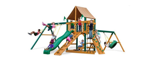 Gorilla Playsets - Gorilla Playsets Frontier Supreme Wood Swing Set with Western Ginger Canopy Mult - Shop for Swings Slides and Gyms from Hayneedle.com! There's a reason why characters like Daniel Boone and Davy Crockett strike such an alluring chord with children and the Gorilla Playsets Frontier Supreme Wood Swing Set with Western Ginger Canopy allows children to embody that type of adventurer in their play. It's the resourcefulness capability and independence of those characters that make them so monumental for children because those are the very qualities children are trying to establish as they grow up. The ability to explore and plan fantastical adventures bolsters a bold self-confidence within your children helping them learn what it means to be a leader. But there's also a much more immediate advantage to this physical play: the play itself. The encouragement to actively play outdoors helps kids develop gross motor skills as well as a natural affinity for fresh air and exercise that will pave the way for a happy and healthy life. The several swings and climbing structures all inspire this kind of kinetic play. This opportunity to get their wiggles out also provides a proper place to blow off steam outside in the fresh air which helps children focus other times when more of their concentration is needed. As kids climb up down and all around this set parents will feel better knowing the children are safe with the securely anchored easy-grip handles and stable square footing. The canopy and the built-in picnic table allow kids to stay outside and play almost all day without you having to worry about them getting too much sun because the canopy is made from all-weather Sunbrella fabric that protects them both from harsh UV rays and even light rain. Kids will also love all the fun extras included with this set such as the steering wheel telescope and sandbox. And since any new frontier is just itching to be claimed there's even a flag kit that allows your childr