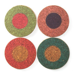 Gail Garcia Dinner-Ware - Round Coaster Set of 4, Dots - New York designer Gail Garcia puts a hip, happy spin on the common coaster. Printed front and back on environmentally friendly cork, this set of four different coasters will animate your tabletops and captivate your friends.