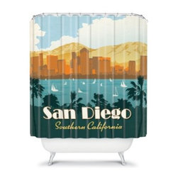 DENY Designs Anderson Design Group Cities Shower Curtain - Show off your pride for your favorite city with the DENY Designs Anderson Design Group Cities Shower Curtain. The vintage poster style of this curtain makes a fun and original addition to your bathroom. The perfect pop of color and design, this curtain is the very best accent.About DENY DesignsDenver, Colorado based DENY Designs is a modern home furnishings company that believes in doing things differently. DENY encourages customers to make a personal statement with personal images or by selecting from the extensive gallery. The coolest part is that each purchase gives the super talented artists part of the proceeds. That allows DENY to support art communities all over the world while also spreading the creative love! Each DENY piece is custom created as it's ordered, instead of being held in a warehouse. A dye printing process is used to ensure colorfastness and durability that make these true heirloom pieces. From custom furniture pieces to textiles, everything made is unique and distinctively DENY.