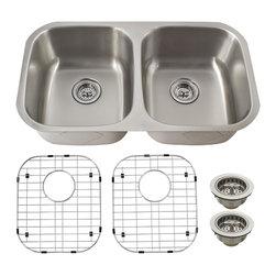 Schon - Schon Luxury 16 Gauge 50/50 Double Bowl Undermount Kitchen Sink (SC505016) - Schon SC505016 Luxury 16 Gauge 50/50 Double Bowl Undermount Kitchen Sink, Stainless Steel