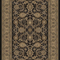 """Orian - Orian American Heirloom Shativar (Onyx) 3'11"""" x 5'5"""" Rug - American Heirloom Collection, Orian Rugs' flagship collection is inspired by classic, hand-woven oriental rugs that combine understated elegance with classic style. The 1.5 million point design construction is densely woven with Orian's finest-denier yarns creating unparalleled visual dimension and pin point design clarity."""