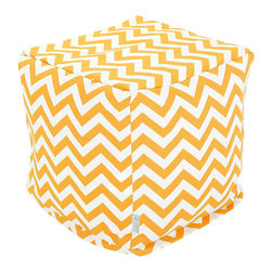 Majestic Home - Outdoor Yellow Chevron Small Cube - Add style and color to your living room or outdoor seating arrangement with Majestic Home Goods Small Cube Ottoman. This cube is perfect for use as a footstool, side table or as extra seating for guests. Woven from outdoor treated polyester, these cubes have up to 1000 hours of U.V. protection and are able to withstand all of natures elements. The beanbag inserts are eco-friendly by using up to 50% recycled polystyrene beads, and the removable zippered slipcovers are conveniently machine-washable.