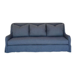 Pre-owned Belgian Inspired Wingback Slipcovered Sofa - A Belgian inspired wingback slipcover sofa in heathered blue pre-washed wool and linen blend fabric. The slipcover can be removed and washed for easy maintenance.    Made in the USA by Dino Home Collection  Frame: Kiln-dried alder hardwood   Springs in seat: 8 way hand tied coils  Back pillow fill: 10% duck down 90% duck feather  Seat cushion seat: Wrapped with 10% duck down 90% duck feather with foam core