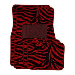 None - Front and Rear Red Zebra Floor Mats - Red zebra print floor mats will brighten your car's interiorUniversal floor mats feature anti-fading colorsNon-skid backing ensures the mat won't slide