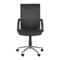 Safavieh - Amitee Desk Chair - It may not be smart to start an office romance, but it's hard to rebuke the luxurious style and classic silhouette of the adjustable Amitee Desk Chair. Crafted with black synthetic leather and rubber wheels, it's a chic and sturdy companion.