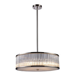 Elk Lighting - Elk Lighting 10129/5 Five Light Drum Pendant from the Braxton Collection - Elk Lighting 10129/5 Five Light Drum Pendant from the Braxton CollectionOffering a new elevated level of quality and design in a drum pendant, the Braxton Collection uses ribbed glass cylinders with crystal-like optics that create a continuous beam of crisp light. Finished in polished nickel, this series offers elegant sophistication for classic to contemporary décor.Features :