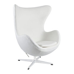 East End Imports - Glove Wool Lounge Chair in White - The Glove Chair provides evidence of movement in design to adapt more organic forms into our living spaces. Designed to remind us of the natural world, this chair provides sheer comfort and relaxation. Get back to nature with the Glove Chair.