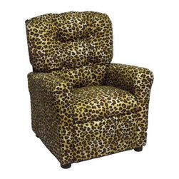 Brazil Furniture - Children's Recliner - This theater-themed Children's 4 Button Back Recliner is a fun gift for any child who enjoys watching TV or playing video games. Brazil Furniture finds a balance between fun and comfort for every child with these pint-size pieces of furniture. Notice the attention to detail with the chair's button-tufted backing, and choose from a wide array of fabric styles. Every piece of quality child-sized furniture is built to fit anywhere in the home, from the living room to the bedroom. Safe, easy to clean, and built to last. Features: -Button-tufted backing.-Solid Oak frame with plush fiber fill backrest.-Flared poly fill armrests and foam seat.-Easy to clean with damp cloth and lukewarm water.-Product meant for children 3 to 9 years old and up to 90 pounds.-Seat height is 13''.-Notice: Chair will not recline unless child is in seated position and pulls ottoman 1'' out and then reclines.-Distressed: No.-Country of Manufacture: United States.-Product Type: Recliner.-Frame Material: Oak.-Arms Included: Yes.-Upholstered Seat: Yes -Seat Upholstery Material: Cotton.-Removable Seat Cushions: No.-Removable Seat Cushion Cover: No.-Tufted Seat Upholstery: No.-Welt on Seat Cushions: No..-Upholstered Back: Yes -Back Upholstery Material: Cotton.-Removable Back Cushions: No.-Back Cushion Fill Material: Fiber.-Removable Back Cushion Cover: No.-Tufted Back Upholstery: No.-Welt on Back Cushions: No..-Nailhead Trim: No.-Rocker: No.-Swivel: No.-Glider: No.-Reclining: Yes.-Footrest Included: Yes.-Stackable: No.-Foldable: No.-Inflatable: No.-Legs Included: Yes -Number of Legs: 4.-Leg Material: Plastic.-Protective Floor Glides: No..-Casters: No.-Cupholder: No.-Skirted: No.-Ottoman Included: No.-Adjustable Height: No.-Age Recommendation: Ages 3 to 9.-Outdoor Use: No.-Seating Capacity: 1.-Weight Capacity: 90.-Swatch Available: No.-Commercial Use: No.-Product Care: Wipe with a damp cloth and lukewarm water.-Convertible: No.Dimensions: -Overall Height - Top to Bottom: 29.-Overall Width - Side to Side: 22.-Overall Depth - Front to Back: 24.-Seat Height: 13.5.-Seat Width - Side to Side: 14.-Seat Depth - Front to Back: 13.5.-Legs: -Leg Height: 1.25.-Leg Width: 2.-Leg Depth: 2..-Arms: -Arm Height: 18.-Arm Width: 4..-Storage: No.-Drawers: No.-Depth When Fully Reclined: 38.-Overall Product Weight: 25.Assembly: -Assembly Required: No.