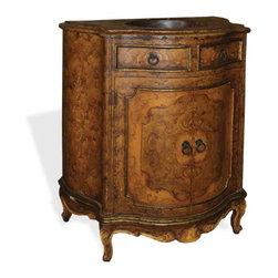 Vally Bathroom Vanity, Fresco Brown Distressed W/ Scroll Medallion - Vally Bathroom Vanity, Fresco Brown Distressed W/ Scroll Medallion and copper top