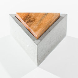 Sawtelle Concrete Box - Store your prized possessions and jewelry in our minimalist style Sawtelle Concrete Box. This triangular container has a solid teak lid and makes a great decorative accent in any room.