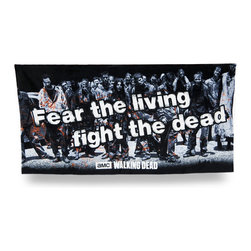 Zeckos - The Walking Dead `Fear the Living, Fight the Dead` Beach Towel 60 in. - Officially licensed and ready for the beach or pool, this `Fear the Living, Fight the Dead` zombies beach towel is an essential addition to the collection of any `The Walking Dead` fans. Made of 100% cotton, it measures 30 inches wide by 60 inches long (76x152 cm), and is recommended to machine wash in cold water, and tumble dry low. You can take it on vacation, a picnic in the park, use it at home or hang it on the wall This awesome towel makes a great gift any follower of `The Walking Dead` is sure to enjoy