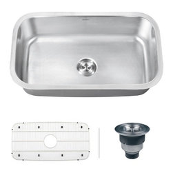 "Ruvati - Ruvati RVM4200 Undermount 16 Gauge 32"" Kitchen Sink Single Bowl - Maintaining a classic look that will complement any kitchen with the beauty and functionality of large, deep bowls with classic rounded corners, the Parmi series is still streamlined enough to be the centerpiece of any countertop."