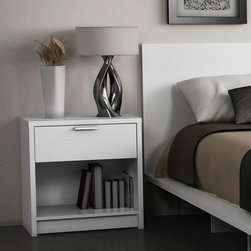 "Stellar Home - Eva 1 Drawer Nightstand - Features: -Water and heat resistant.-Elegant silver metal pulls on drawer.-Metal drawer glides.-Pure white finish.-Laminate finish for more durability.-Eva collection.-Distressed: No.-Collection: Cosmopolis.-Country of Manufacture: Canada.-Frame Material: Engineered wood.-Solid Wood Construction: No.-Finish: White.-Powder Coated Finish: No.-Gloss Finish: No.-Hand Rubbed Finish: No.-Non Toxic: Yes.-Scratch Resistant: Yes.-Drawers Included: Yes -Number of Drawers: 1.-Drawer Interior Finish: Natural maple finish.-Drawer Glide Material: Metal.-Drawer Glide Extension: 12"".-Soft Close or Self Close Drawer Glides : No.-Safety Stop: Yes.-Ball Bearing Glides: No.-Drawer Dividers: No.-Felt Lined Drawers: No.-Joinery Type: Cam locks.-Drawer Handle Design: Pulls..-Exterior Shelving: No.-Cabinets Included: No.-Top Material: Engineered wood.-Lighting Included: No.-Hardware Finish: Stainless steel pulls.-Hardware Material: Metal assembly hardware.-Hidden Storage: No.-Interchangeable Panels: No.-Mirror Included: No.-Cable Management: No.-Built In Outlets: No.-Finished Back: No.-Swatch Available: No.-Commercial Use: No.-Recycled Content : No.-Eco-Friendly: Yes.-Product Care: Wipe clean with dry cloth.Specifications: -FSC Certified: Yes.-EPP Compliant: No.-CPSIA or CPSC Compliant: No.-CARB Compliant: Yes.-JPMA Certified: No.-ASTM Certified: No.-ISTA 3A Certified: No.-PEFC Certified: No.-General Conformity Certificate: No.-Green Guard Certified : No.Dimensions: -Overall Product Weight: 42 lbs.-Overall Height - Top to Bottom: 24"".-Overall Width - Side to Side: 23"".-Overall Depth - Front to Back: 16"".-Drawers: -Drawer Interior Height - Top to Bottom: 5.5"".-Drawer Interior Width - Side to Side: 18.5"".-Drawer Interior Depth - Front to Back: 13.5""..-Cabinets: No.-Shelving: No.-Legs: No.-Tabletop Thickness: 1"".Assembly: -Assembly Required: Yes.-Tools Needed: Phillips #3 screwdriver.-Additional Parts Required: No.Warranty: -Product Warranty: 5-year limited warranty."
