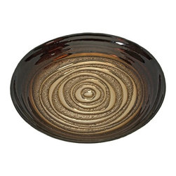 "IMAX - Keops Glass Bowl - Color inspired from a mocha swirl bistro treat, the Keops glass bowl features a fading deep coffee brown into a light cream center. Food safe. Item Dimensions: (15.75""h x 15.75""w x 3"")"