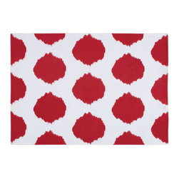 KAF Home - Ikat Dot Placemat Red - This unique design is formed by binding bundles of threads with a tight wrapping applied in the desired dot pattern. A perfect option to complement your kitchen decor.