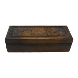 Golden Lotus - Hcs696-11 Chinese Huali Rosewood Handcrafted Storage Box - This is a decorative box made of Huali rosewood and crafted into rectangular shape with motif cover and long drawer.