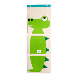 Alligator Wall Organizer - Made from 100 percent organic cotton canvas and ecospun felt appliqué, this wall organizer is cute and functional.