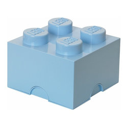 LEGO - LEGO Storage Brick 4, Light Royal Blue - Our Lego Storage Brick 4 in light royal blue isn't simply a container  it's a giant Lego brick that can be used to build oversized creations. Lift off the top to reveal storage space for small toys, regular bricks and building accessories based on your space and needs.