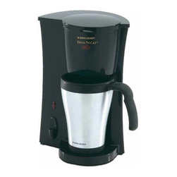 """Applica - Black and Decker Brew'N Go Deluxe Coffee Make - Includes stainless steel mug. Reusable, permanent filter are top-rack. Dishwasher-safe. Removable filter basket. Convenient one-touch operation. Mug tapered and contoured. Easy-grip handle. Brew-thru lid is also easy to drink through. Power """"on"""" light with automatic shut-off for peace of mind. Voltage: 800 watts. Warranty: Two yearsAn ideal coffeemaker for an active, on-the-go lifestyle! Your coffee brews directly into a 15 oz. in minutes. Thermal mug that fits most car cup holders."""