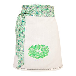 artgoodies - Organic Block Print Nest Apron - Each organic apron is hand printed with an original hand carved block print by Lisa Price. The band and ties are made of a coordinating vintage-style fabric and the embroidered accent at the bottom sets the fabric off just right! Dazzle your kitchen on any ordinary day or be the cutest hostess ever!