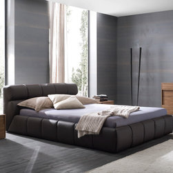 "Cloud bed in brown - The Cloud bed completely covered in leather effect material. Available in queen and king size. Made in Italy. Special price for Houzz users! Use promo code ""houzz"" to get free delivery and 10% off."