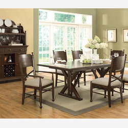 Coaster 7 PC Casual Brown Cherry Dining Room Set Table Chairs Fabric - Add a unique touch to your dining room decor with this stunning dining room set. The rectangular-shaped table carries a brown cherry finish and features a wood paneled top and bold X-designed pedestals. The matching chairs also have X-designed lower backs with a padded fabric cushion for ultimate comfort. Create a natural appearance in your home with this beautiful counter height table set.