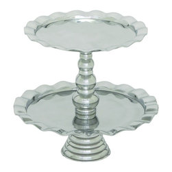 Benzara - Two Tiered Cake Round Serving Platforms Wavy Edge Decor 27482 - Traditional two tiered stainless steel cake stand with round serving platforms and wavy edge design party decor