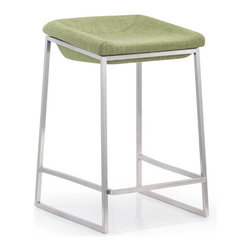 ZUO - Lids Counter Chair - Green - Graceful yet friendly, the Lids Counter Chair sports a brushed stainless steel frame and indented cushion. Comes in green or dark gray. Imposing enough for large spaces and simple enough for small.