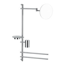 "WS Bath Collections - WS Bath Collections Bloom 2826 Bathroom Accessory Stand - Bloom 2826, 27.2"" x 5.2"" x 30.5"",  Bathroom Accessory Stand with Magnifying Mirror, Soap Dish, (2) Towel Bars, and Toothbrush Holder in Polished Chrome"