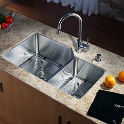 Kraus - Single Lever Pull Out Kitchen Mixer Chrome - Update the look of your kitchen with this multi-functional Kraus pull-out faucet. Kraus kitchen faucet blends quality and durability with elegance and style. Faucet is constructed from solid brass with stunning triple plated chrome finish. Features dual pull-out spray head with an aerated flow or a powerful spray. Spring-tensioned retractable hose. Spout swivels 360-degrees. Contains Sedal drip-free ceramic cartridge. Hermetically sealed with adjustable temperature and flow rate limitation. Single-lever water and temperature control. Single-hole, top-mount installation. Water pressure tested for industry standard. Standard US plumbing connections. 2.2 GPM flow rate. Installation in a 1.375-inch hole. All mounting hardware and hot/cold waterlines are included. Faucet height: 15 inches. Spout height: 8 inches. Spout reach: 7 inches. Hose measures 24 inches long. ADA compliant. 5 Years Limited Manufacturer WarrantyInstruction Manual