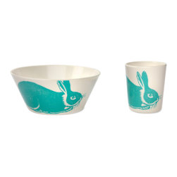Bob's Your Uncle - Bob's Your Uncle Thomaspaul Aqua Bunny Dining Set - Bob's Your Uncle thomaspaul Aqua Bunny Dining Set. Cute and whimsical, the thomaspaul Aqua Bunny Dining Set from Bob's Your Uncle is perfect for fun-loving adults and children. Made from high-quality melamine for long-lasting durability, this dish set includes a cup, a bowl, a plate, and a spoon so you can be ready in any dining situation. The spoon features a tiny little carrot, while the other three pieces showcase an aqua-blue bunny. Hop to it!Set includes a bowl, spoon, cup, and plateExclusive design from thomaspaul