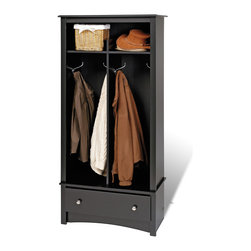 Prepac Hall Tree Organizer in Black - This Hall Tree Organizer is the perfect solution in any foyer, bedroom or office. It features stylish decorative touches like a profiled top, an arched apron and brushed metal hardware.
