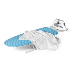 Table Top Ironing Board With Iron Rest - Honey-Can-Do BRD-01294 Deluxe Tabletop Ironing Board with Iron Rest, Aqua Blue/White. This colorful tabletop ironing board is a great space-saving laundry tool. Compact in size, it's a great choice for small homes, apartments, dorm rooms, or the office. When set-up, this portable board provides a sturdy, ample ironing surface and incorporates a metal iron rest to prevent scorching. To store, just fold the legs and iron rest in for a slim, flat board that easily fits in a closet, under the bed, or in the car. Pad and vibrant aqua blue cover included.  Wood and cloth construction.