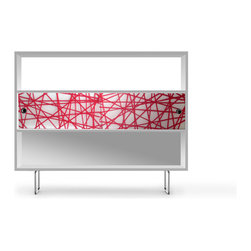 Spot on Square - Alto Bookshelf - Spot on Square - Modern, innovative home furnishings built entirely from sustainable, eco-friendly material and processes are a priority for Spot on Square.  The Alto Collection is designed to grow with your child and provides a playful, airy touch with the translucent panels that encapsulate organic materials into fun and colorful shapes.  The furniture is built from the highest Grade Certified Green MDF and finished in a crisp white, water based non-toxic paint.  The materials and processes used are consciously chosen to insure a non-toxic environment for your child.  The chrome legs are gracefully curved, complementing the translucent panels and giving the pieces the appearance of floating in midair.  The Alto Collection includes those items needed for the ideal nursery – crib, dresser, bookshelf, credenza and changing tray.
