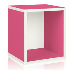 Way Basics - Way Basics Eco Stackable Storage Cube Plus, Pink - Why purge when you can neatly stack and store? Super cubes come to the rescue in a dorm room, studio apartment, home office or other space-challenged place. They're a breeze to build (just peel and stick!) and formaldehyde- and VOC-free.