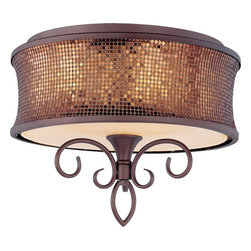 Maxim Lighting - Maxim Lighting Alexander Transitional Semi Flush Mount Ceiling Light X-BUBS06142 - Alexander collection is a fashion lighting at its best. Inspired by a world famous clothing designer, the collection features graceful scrolls of metal finished in Umber Bronze that support Shimmer Bronze metal fabric shades. Each shade is lined in a soft gold fabric that casts a warm glow from within the fixture. Dressed to kill, the Alexander collection will add beauty to any room environment.