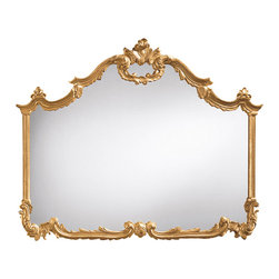 """Inviting Home - Louis XV Horizontal Wall Mirror - horizontal mirror finished in antiqued gold leaf 46-1/2""""W x 3""""D x 37-1/2""""H hand-crafted in Italy This elegant Louis XV style horizontal mirror has carved wood frame with leaf and scroll design and finished in hand applied antiqued gold leaf. This horizontal mirror can be successfully incorporated in design as an over-mantel mirror. Horizontal wall mirror is hand-crafted in Italy."""