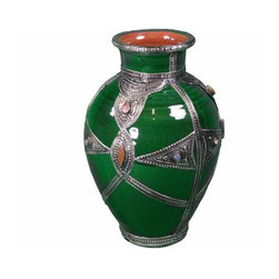 Moroccan Ceramic Vase - Hand crafted, glazed decorative ceramic vase with great dexterity and precision using a Berber engraved metal designs and embelished with Berber coral that gives it a unique quality and character.